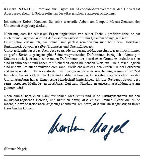 Karsten Nagel, ehem. 1. Solofagottist der »Bayerischen Staatsoper München«, Prof.