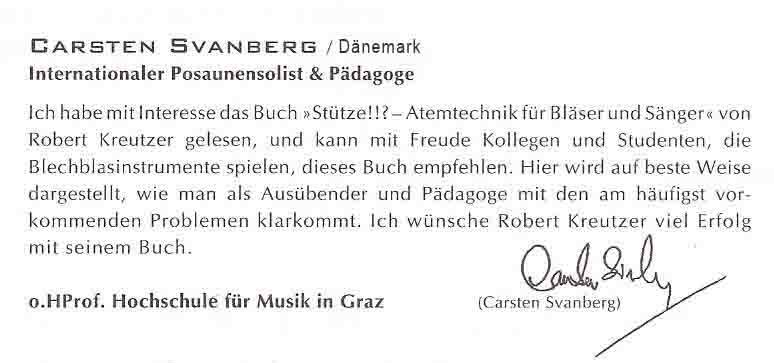 Carsten Svanberg, Internationaler Posaunensolist, o.HProf.