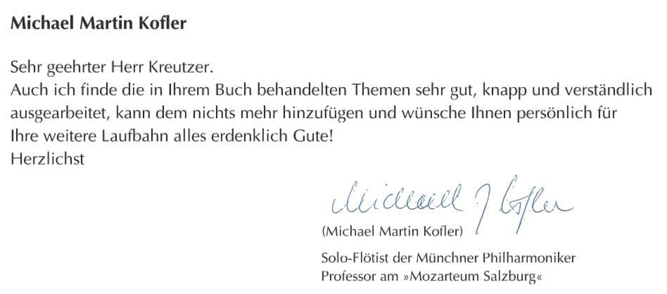 Michael Martin Kofler, Solo-Flötist der Münchner Philharmoniker, Prof.